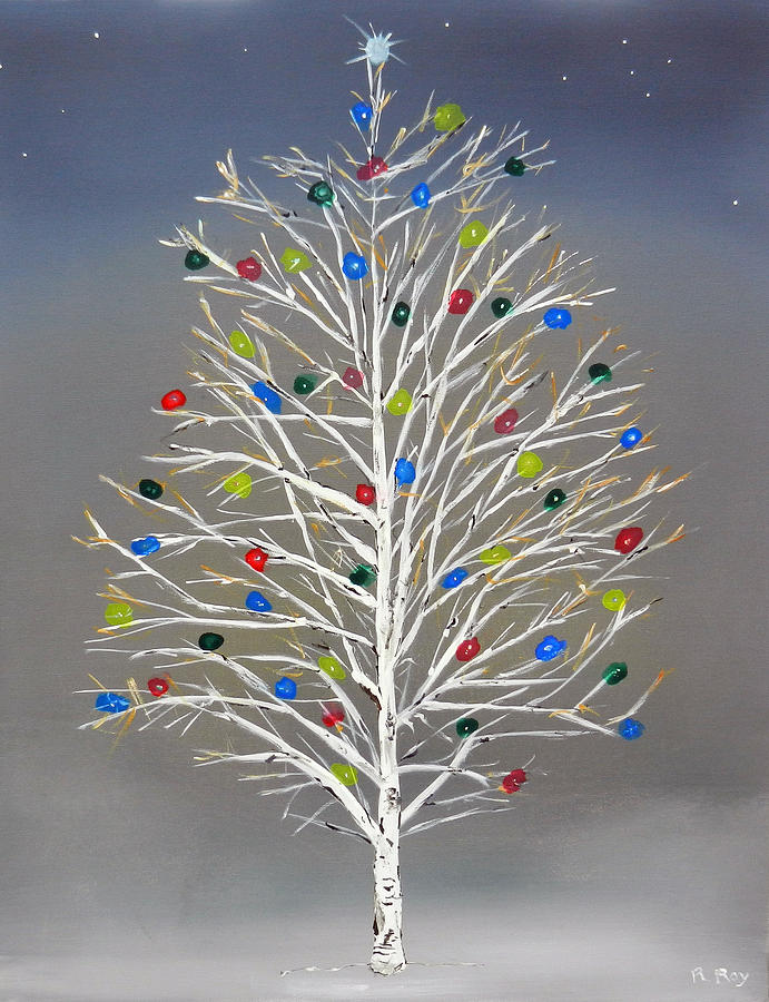 Christmas birch tree painting by robert roy