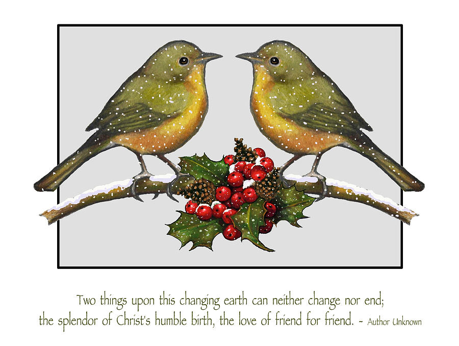 Christmas Card Birds And Friendship Mixed Media  - Christmas Card Birds And Friendship Fine Art Print