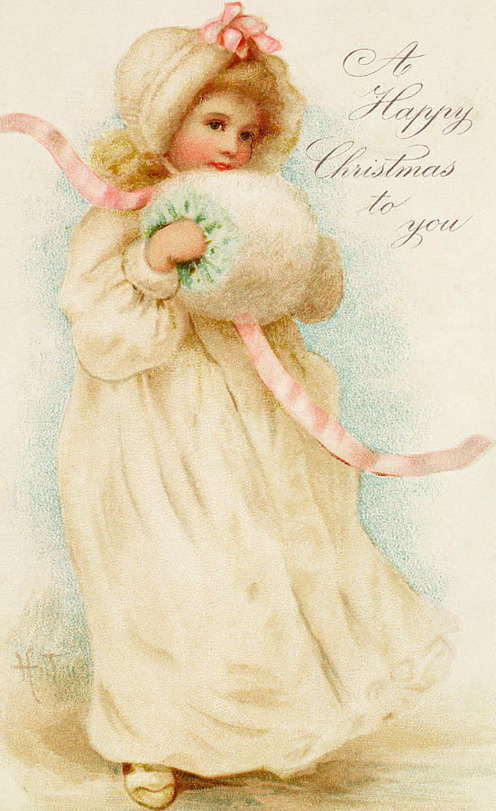 Christmas Card Depicting A Girl With A Muff Painting