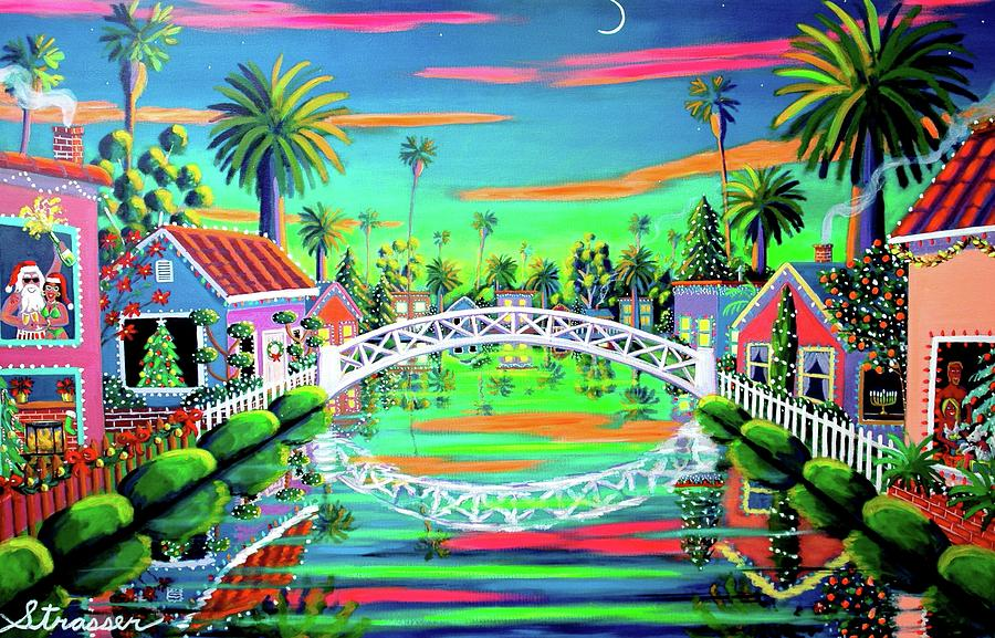 Christmas Eve On Retro Canal Painting  - Christmas Eve On Retro Canal Fine Art Print