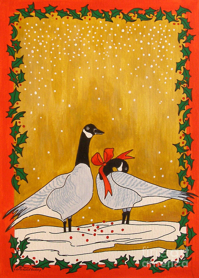 Christmas Geese Painting