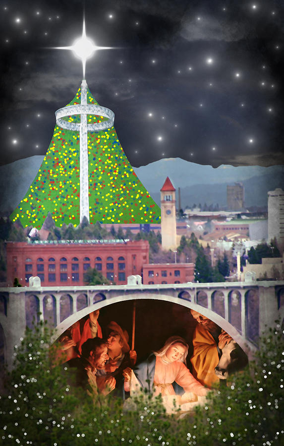 Christmas In Spokane Digital Art  - Christmas In Spokane Fine Art Print
