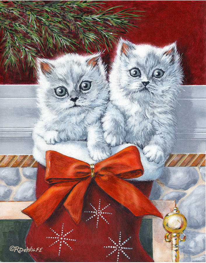 Christmas Kittens Painting  - Christmas Kittens Fine Art Print