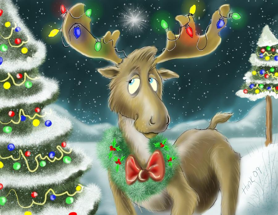 Christmas Moose Drawing  - Christmas Moose Fine Art Print