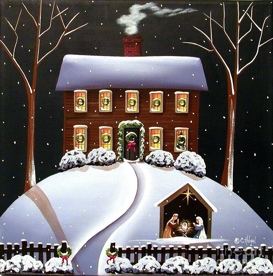 Christmas Nativity Painting  - Christmas Nativity Fine Art Print