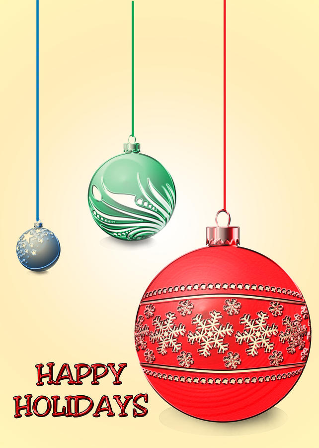 Greeting Card Digital Art - Christmas Ornaments by Anthony Caruso