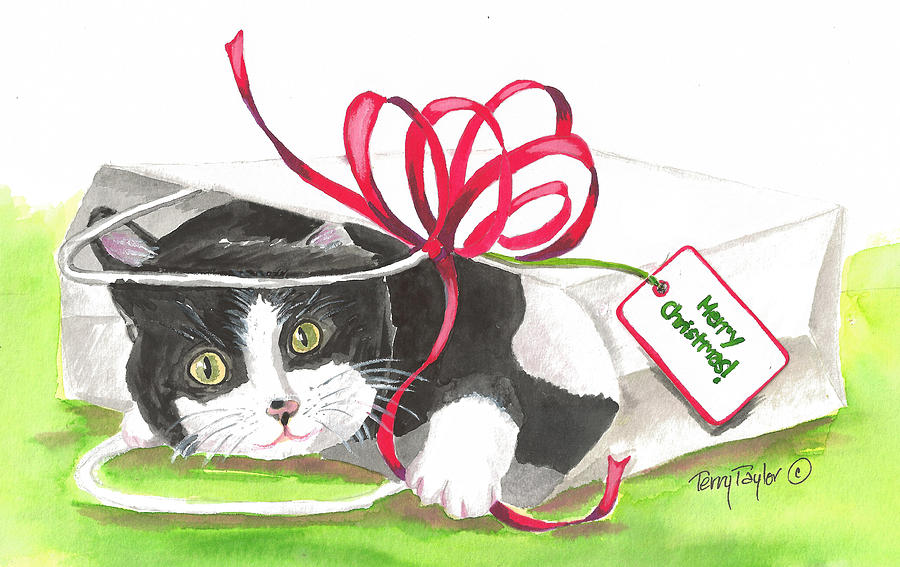 Cat Painting - Christmas Surprise by Terry Taylor