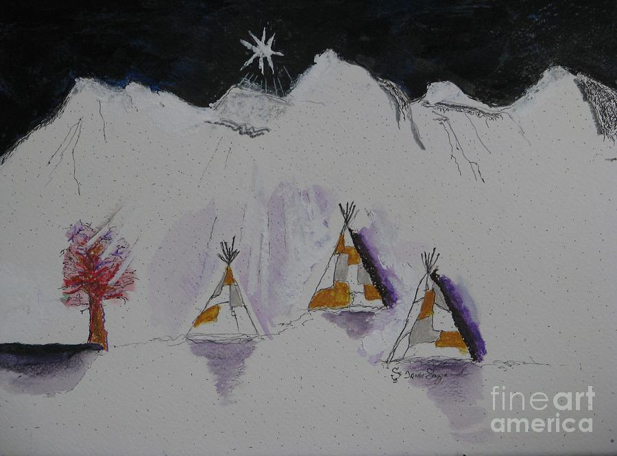 Christmas Teepees Mixed Media  - Christmas Teepees Fine Art Print