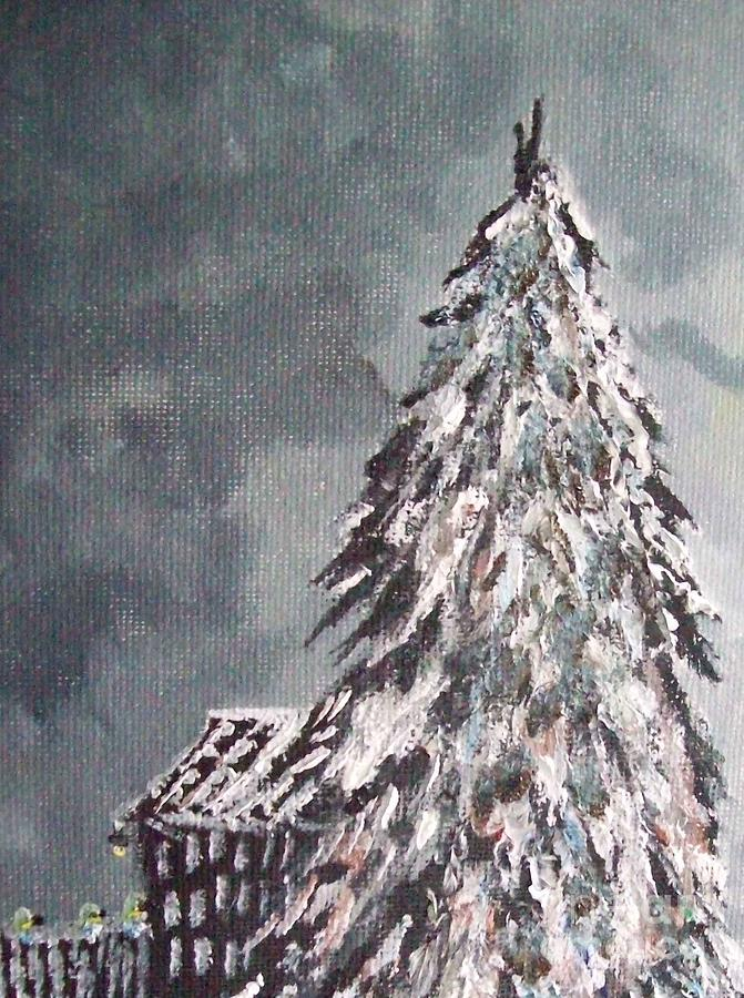 Christmas Tree By A Wharf Painting  - Christmas Tree By A Wharf Fine Art Print
