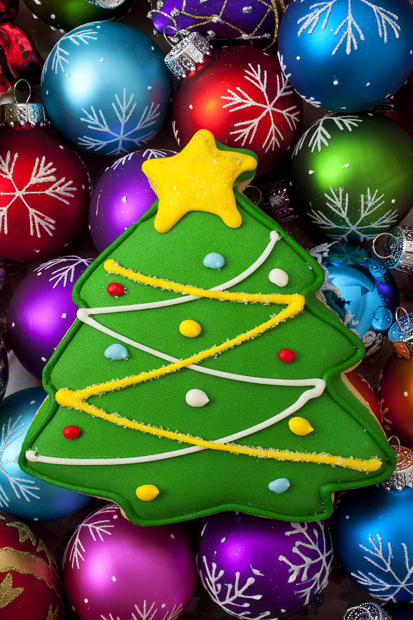 Christmas Tree Cookie With Ornaments Photograph