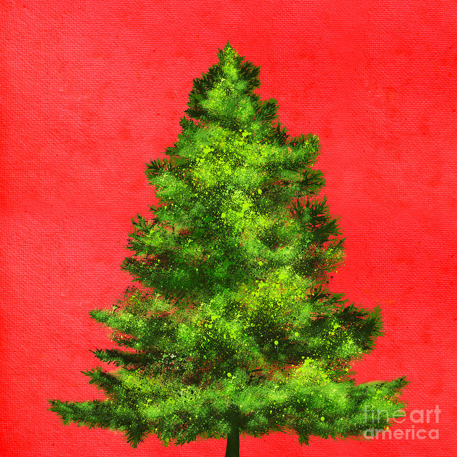 Christmas tree paintings the image kid for How to paint a tree