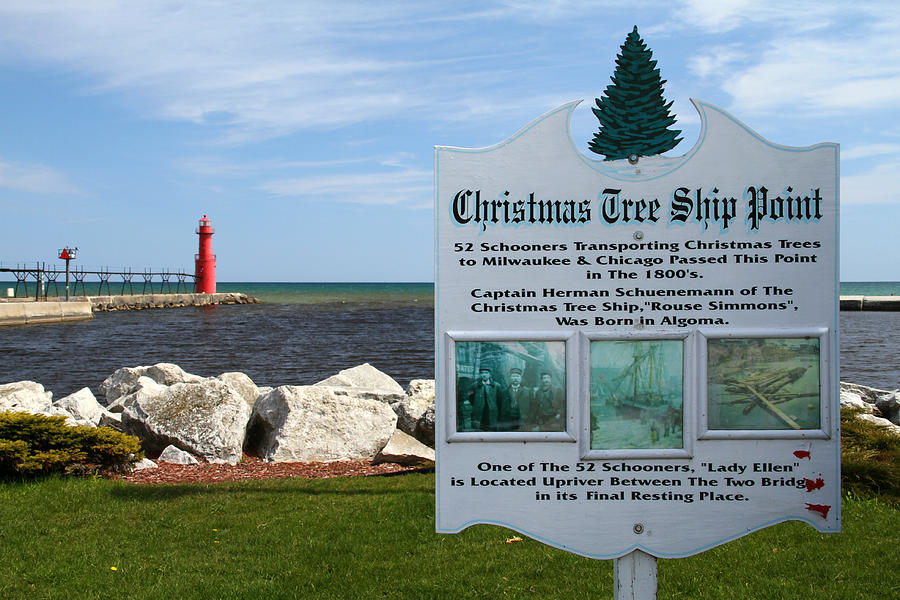 Christmas Tree Ship Point At Algoma Harbor Photograph  - Christmas Tree Ship Point At Algoma Harbor Fine Art Print