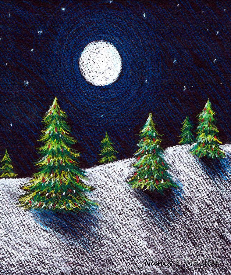 Pastels Drawing - Christmas Trees II by Nancy Mueller