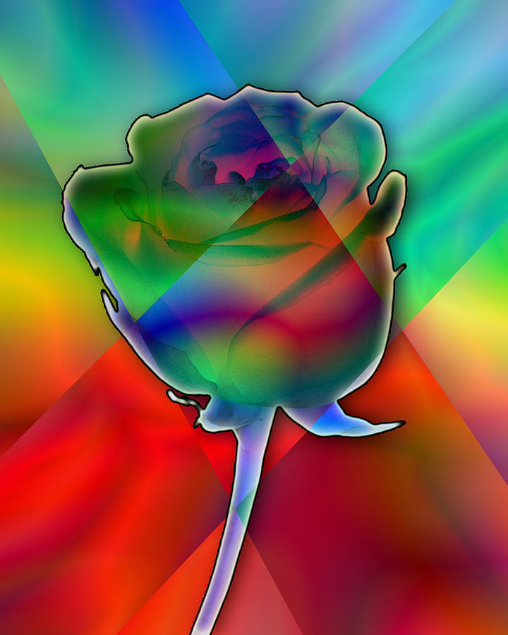 Chromatic Rose Digital Art  - Chromatic Rose Fine Art Print
