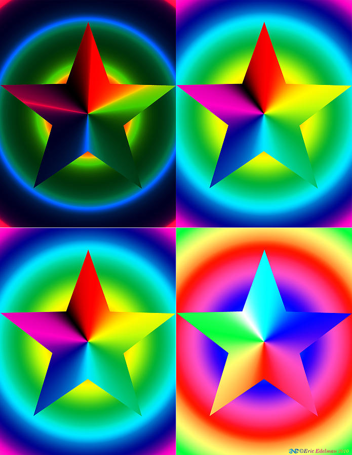 Chromatic Star Quartet With Ring Gradients Digital Art  - Chromatic Star Quartet With Ring Gradients Fine Art Print