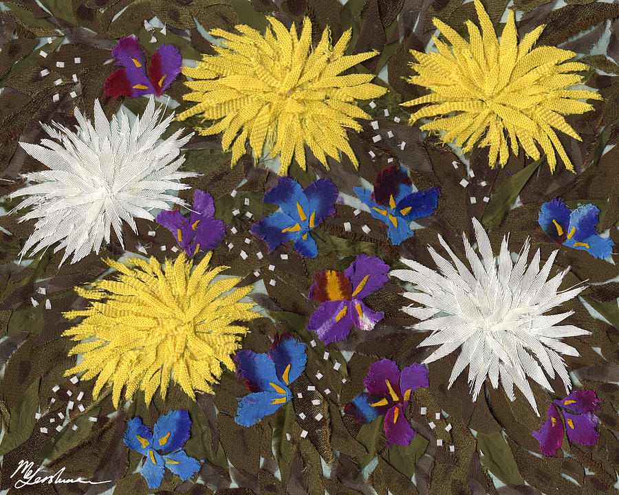 Chrysanthemums And Irises Tapestry - Textile