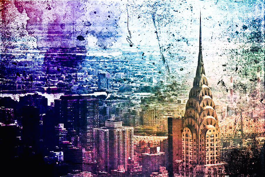 Chrysler Building Colorful New York City By Vivienne Gucwa