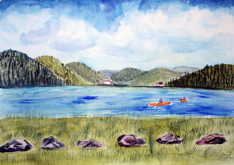 Chrystal Lake  Barton Vt  Painting  - Chrystal Lake  Barton Vt  Fine Art Print