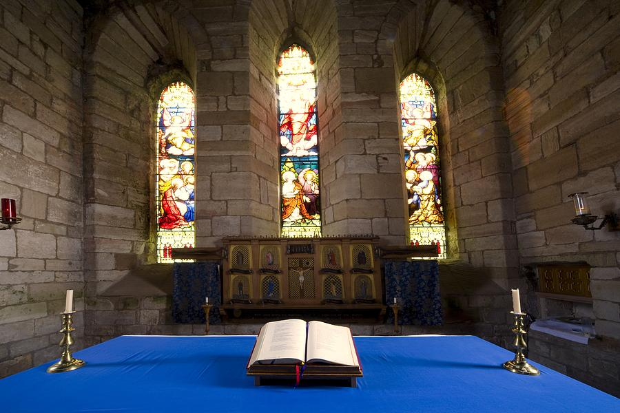 Arches Photograph - Church And Open Bible, Holy Island by John Short