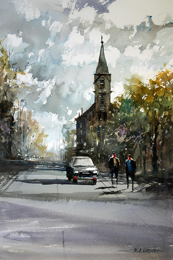 Church On The Hill Painting