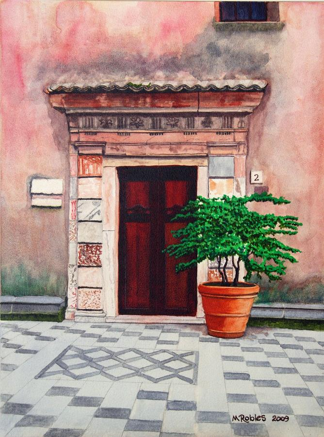 Church Side Door - Taormina Sicily Painting