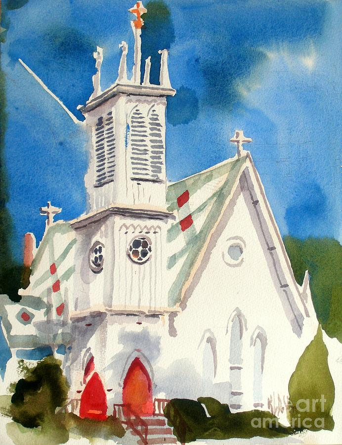 Church With Jet Contrail Painting  - Church With Jet Contrail Fine Art Print