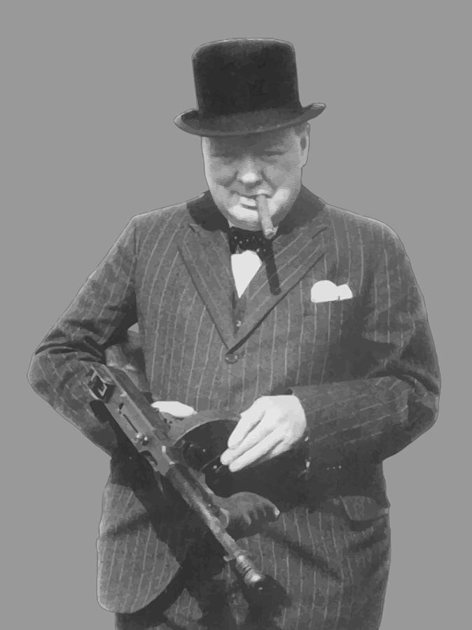 Churchill Posing With A Tommy Gun Painting