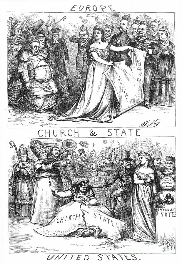 Church/state Cartoon, 1870 Photograph  - Church/state Cartoon, 1870 Fine Art Print