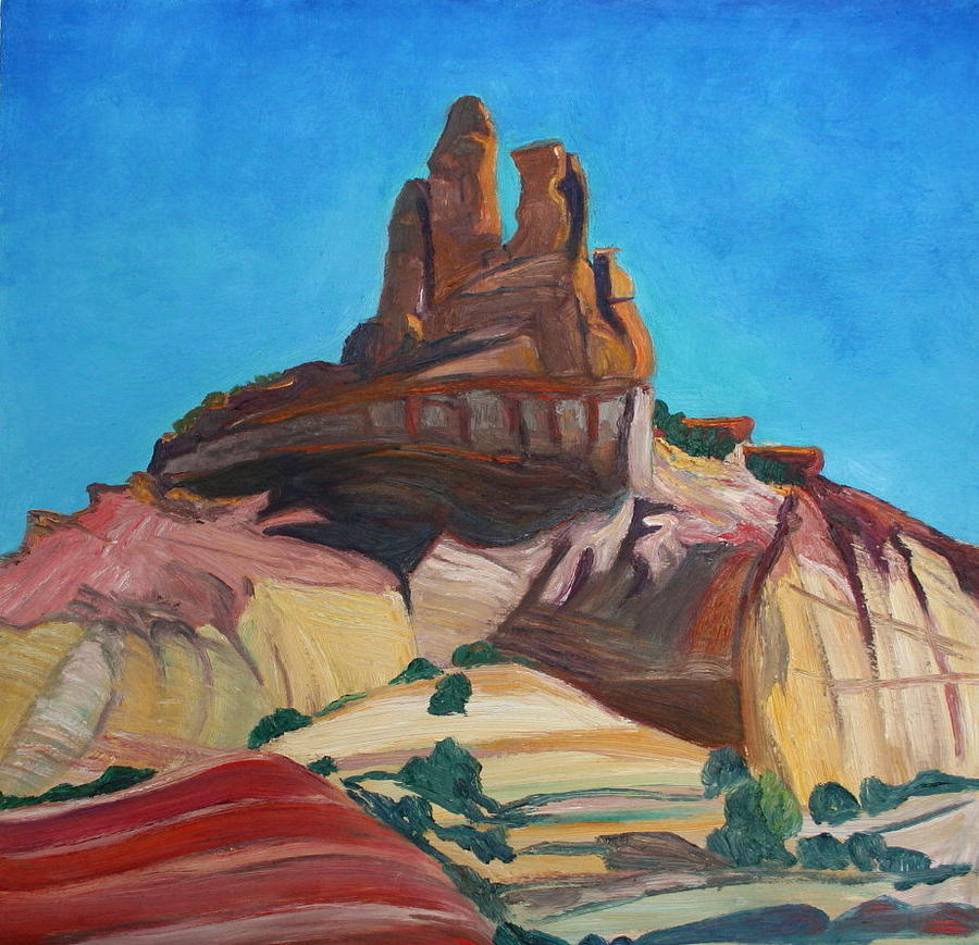 Churck Rock Gallup New Mexico Painting  - Churck Rock Gallup New Mexico Fine Art Print
