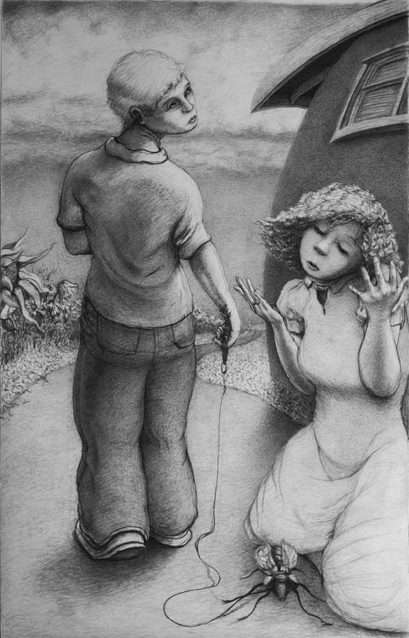 Louis Gleason Drawing - Cicada by Louis Gleason