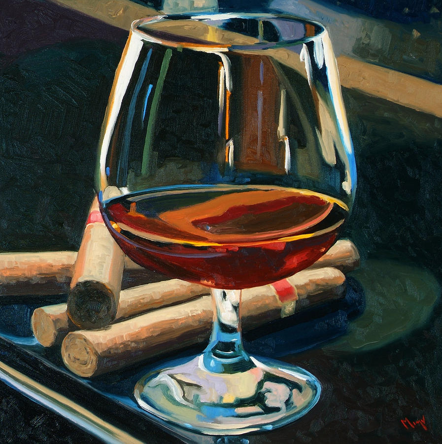 Cigars And Brandy Painting  - Cigars And Brandy Fine Art Print