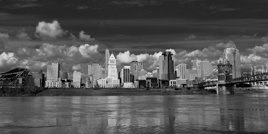 Cincinnati Skyline Bw Photograph