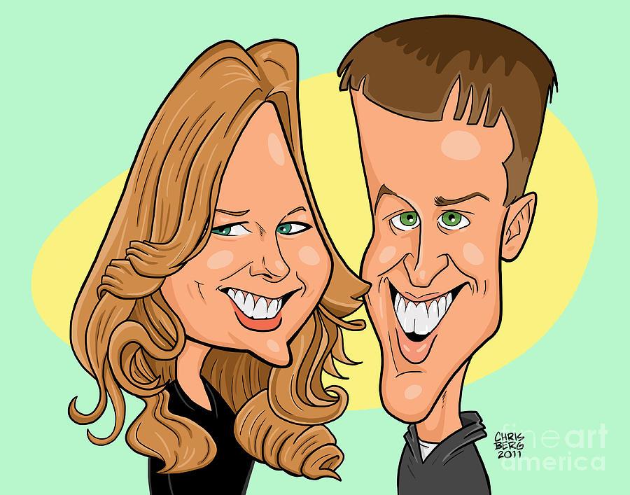 Caricature Digital Art - Cindy And Jordan by Chris Berg