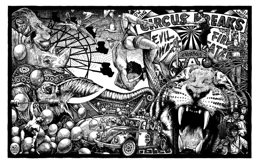 Circus Breaks Drawing  - Circus Breaks Fine Art Print