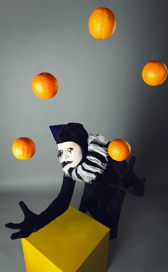 Circus Fashion Mime Juggles With Five Oranges. Photo. Digital Art