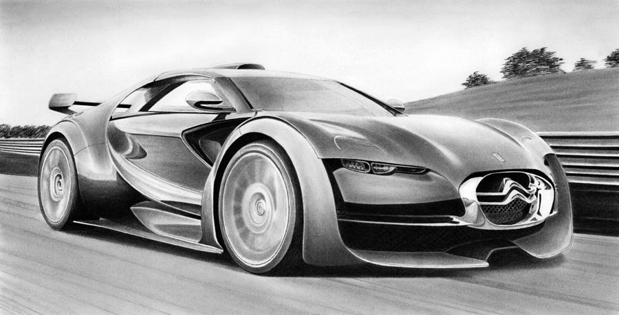 Citroen Survolt Drawing  - Citroen Survolt Fine Art Print