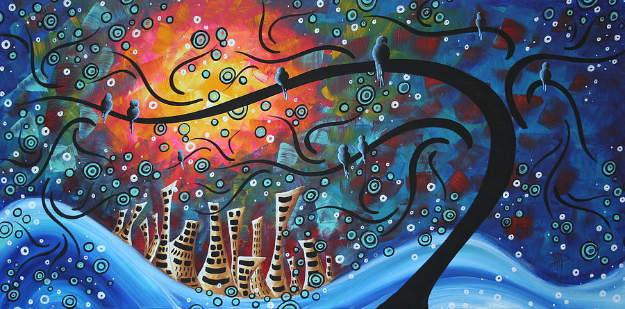 City By The Sea By Madart Painting  - City By The Sea By Madart Fine Art Print