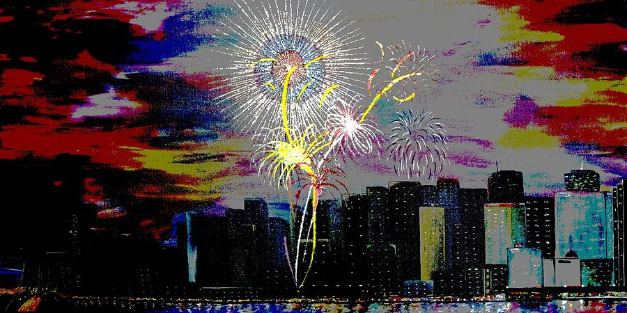 City Celebration Digital Painting  - City Celebration Digital Fine Art Print