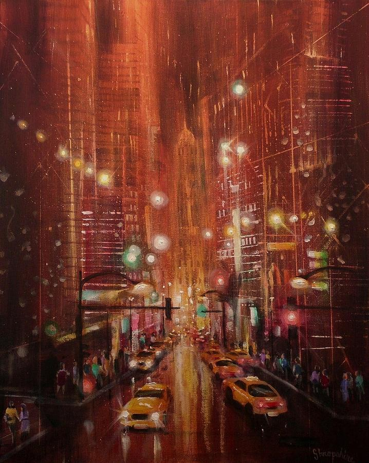 City At Night Painting - City Lights 2 by Tom Shropshire