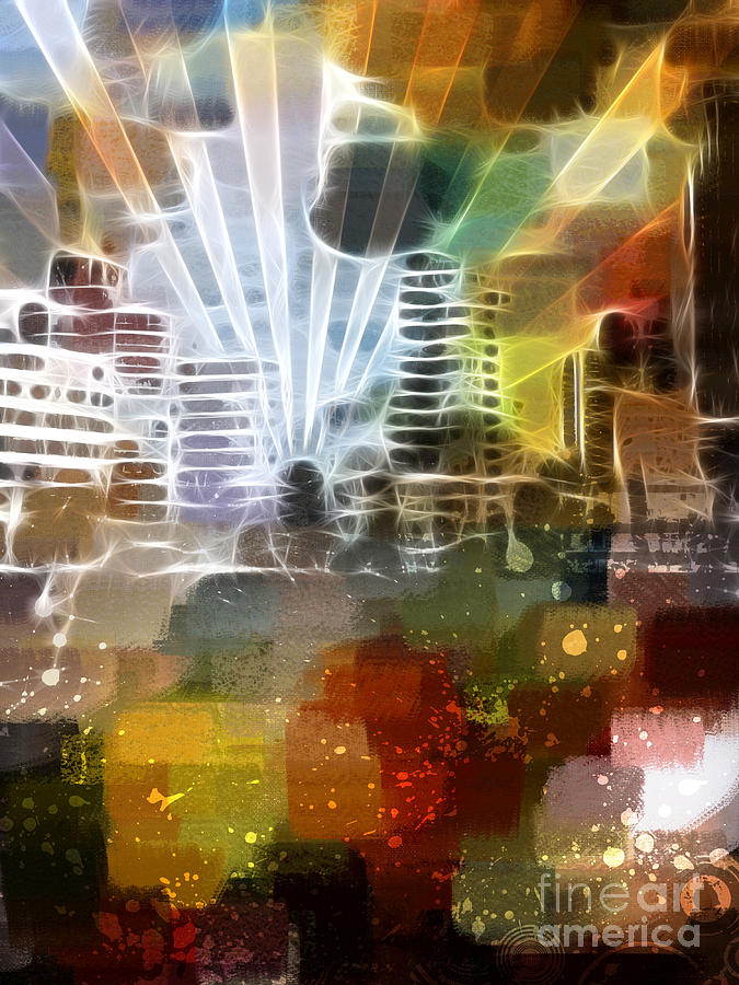 City Lights Digital Art  - City Lights Fine Art Print