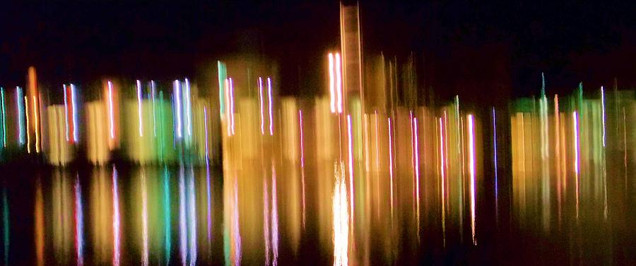 City Lights Over Water Abstract Photograph
