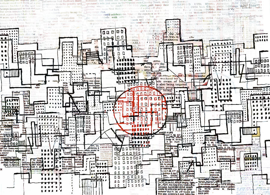 City Lines II  Drawing  - City Lines II  Fine Art Print