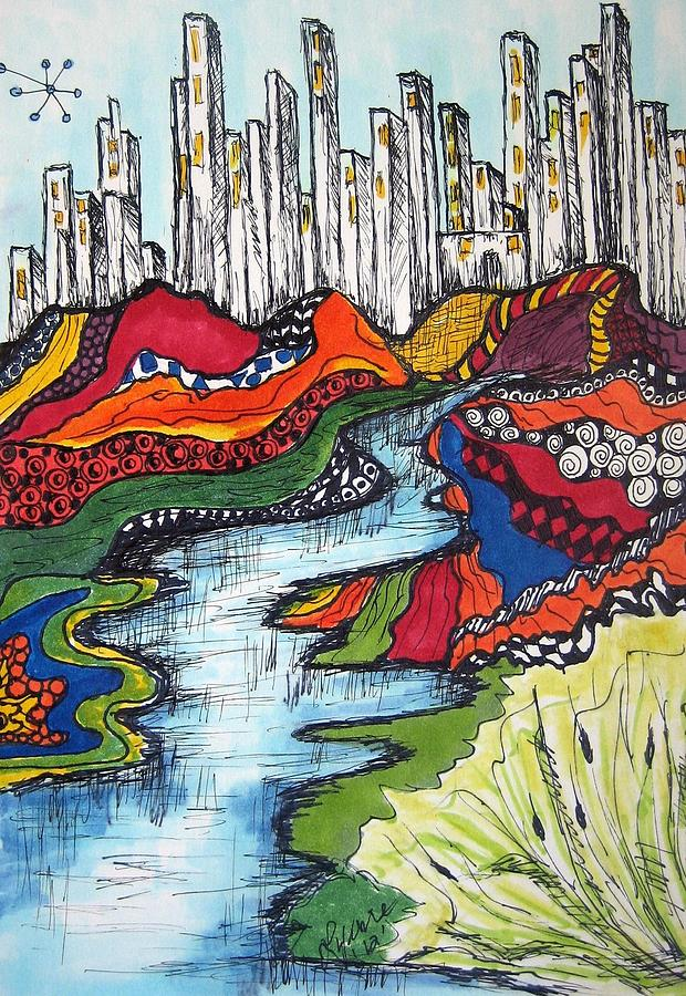 City Scape Drawing - City Meets Nature by Lynne Howard