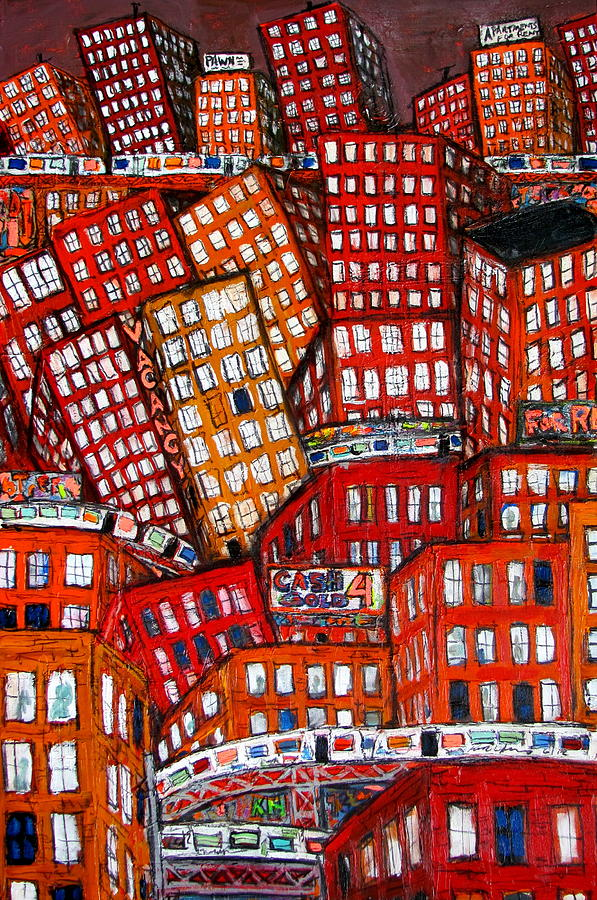 City Of Bricks 012 Painting  - City Of Bricks 012 Fine Art Print