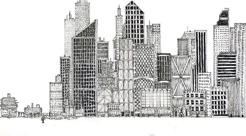 City Scape Drawing  - City Scape Fine Art Print