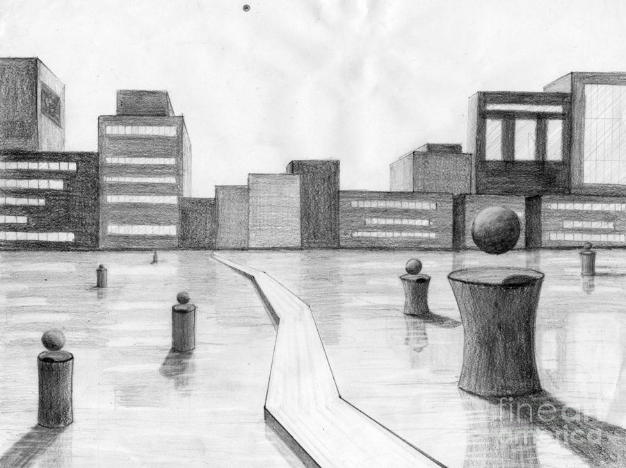 City Scene Drawing  - City Scene Fine Art Print