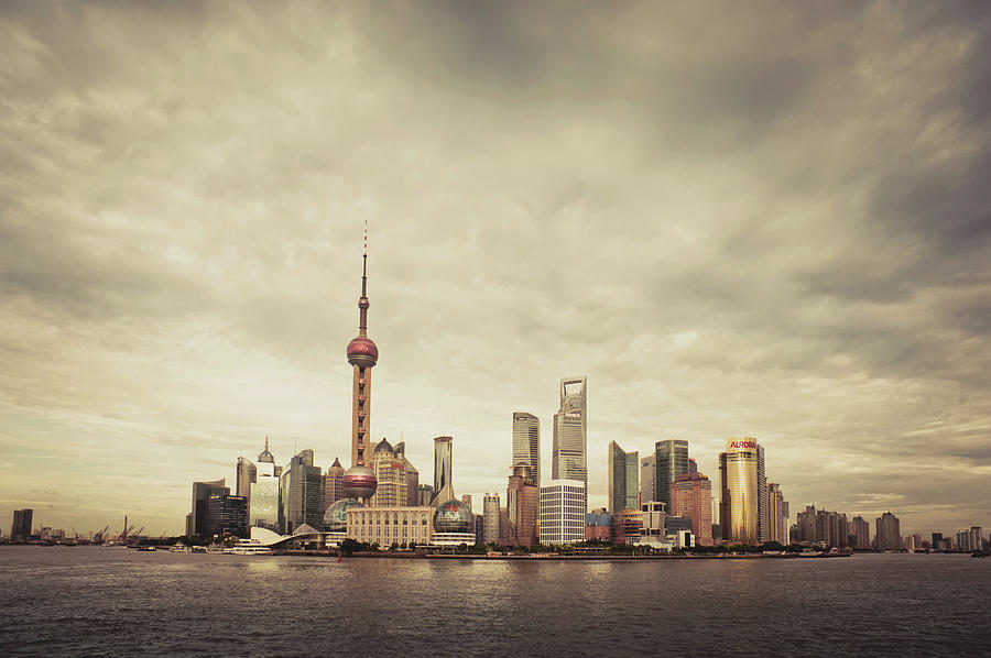 City Skyline At Sunset, Shanghai, China Photograph  - City Skyline At Sunset, Shanghai, China Fine Art Print