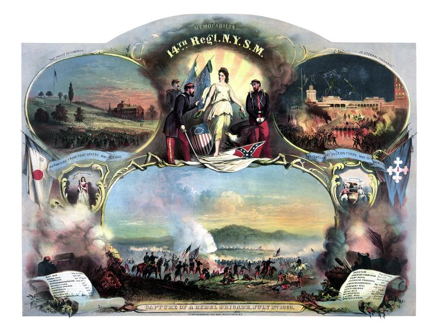 Civil War 14th Regiment Memorial Painting  - Civil War 14th Regiment Memorial Fine Art Print