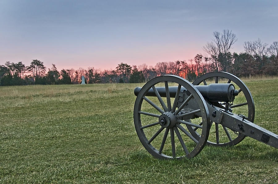 Civil War Cannon At Sunrise - Manassas Battlefield - Virginia Photograph