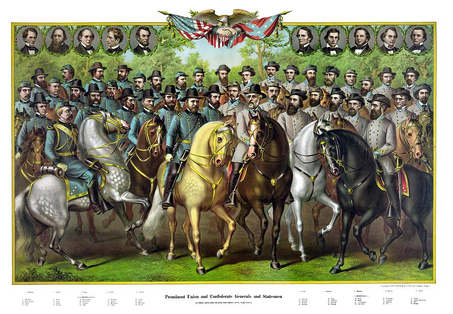 Civil War Generals And Statesman With Names Painting